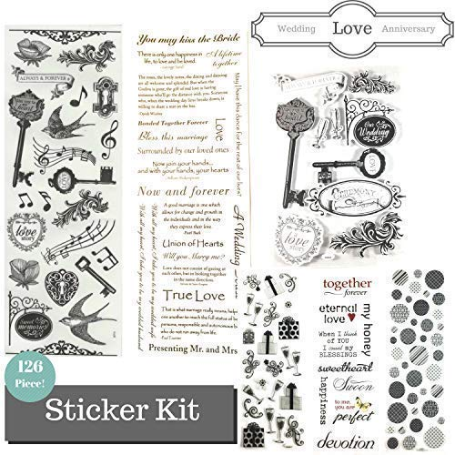 Anniversary, Love & Wedding Scrapbook Stickers Themed Kit - 126 Piece! Scrapbook Page Kit Value Pack! ()