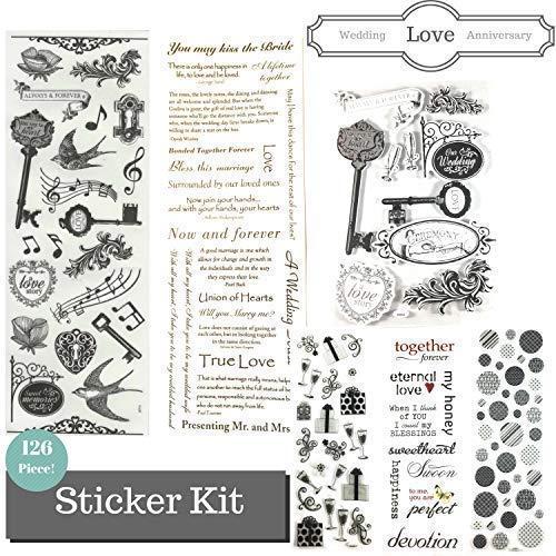 Anniversary, Love & Wedding Scrapbook Stickers Themed Kit - 126 Piece! Scrapbook Page Kit Value -