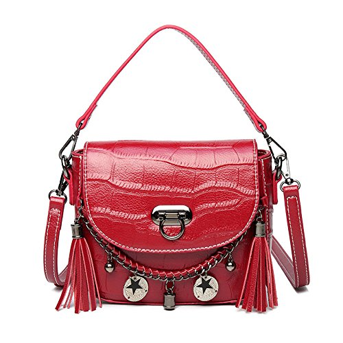 Dama Moda Bolsas De Hombro Borla Minimalista Bolso Elegante Bolso Bandolera Red