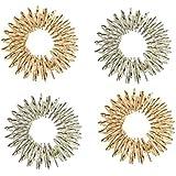 Acupressure Massage Rings - SODIAL(R)4pcs Medicine Acupressure Massage Rings (Silver + Golden)