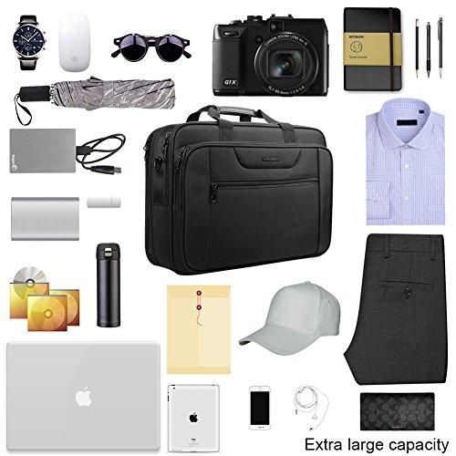 KROSER 18.5'' Laptop Bag Laptop Briefcase Fits Up To 18 Inch Laptop Water-Repellent Computer Bag Shoulder Bag Expandable Extra Large Capacity For Travel/Business/School/Men-Black by KROSER (Image #6)