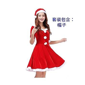 SDLRYF Disfraz De Papá Noel Traje De Navidad Cos Hembra Rojo ...
