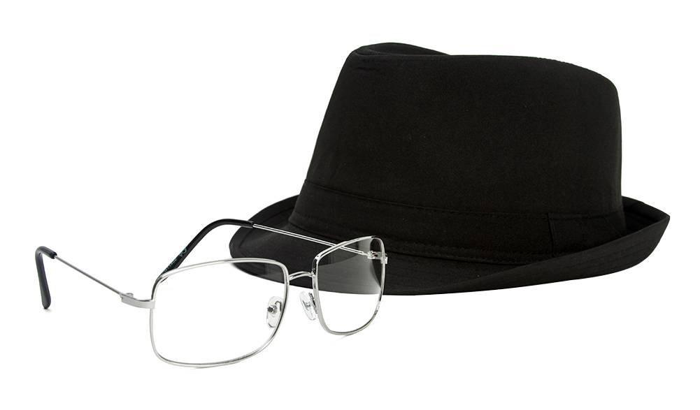 The One Who Knocks Clear Rectangle Aviator Lens Glasses Silver Sunglasses/Black Fedora