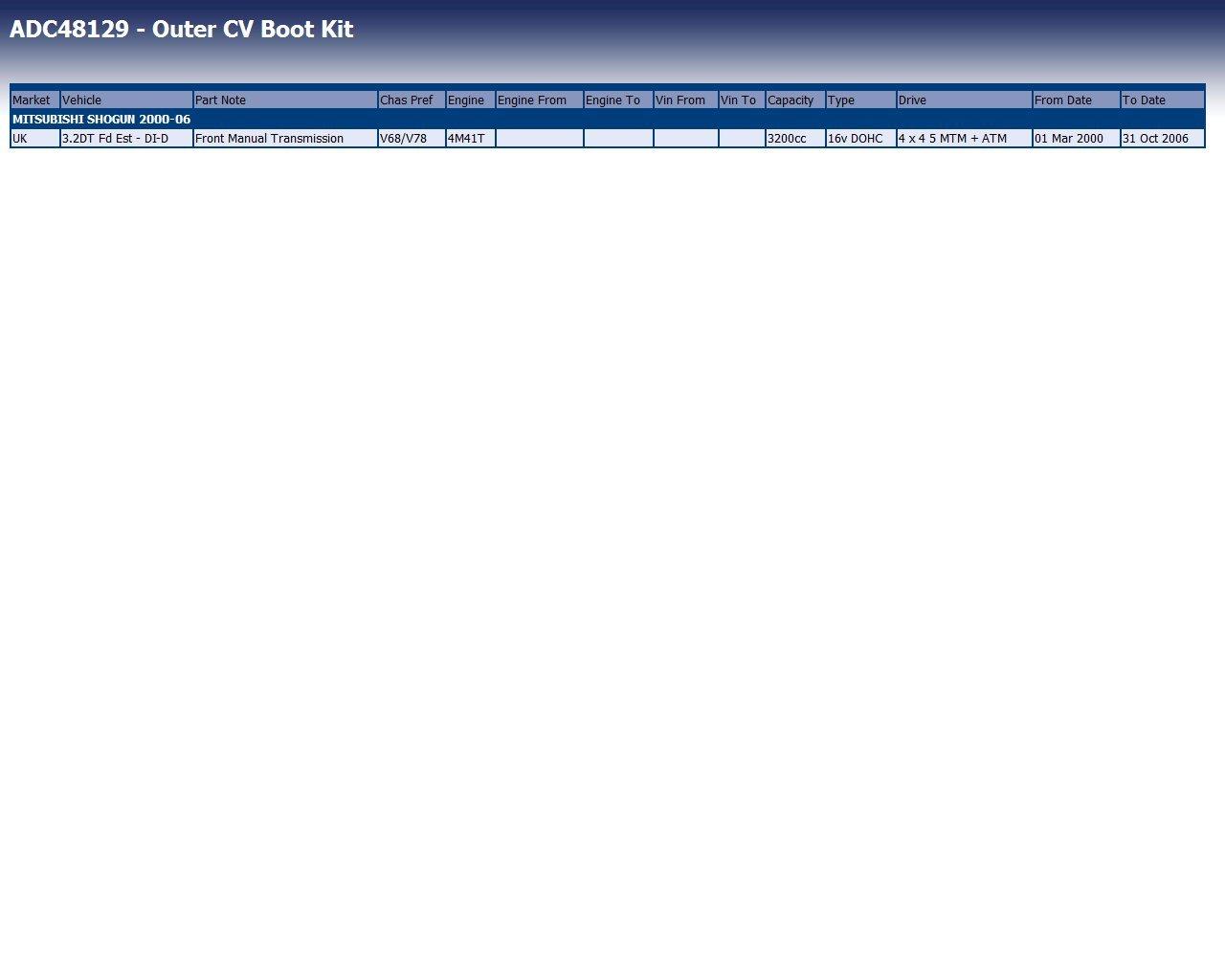 EST BP ADC48129 Kit Cuffia Giunto Om Montero//Pajer