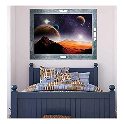 Magnificent Visual, Science Fiction ViewPort Decal Peering into a Vibrantly Colored Space Wall Mural, Quality Creation
