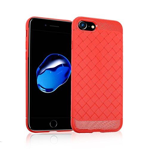 Funda de TPU suave y duradera con patrón tejido para iPhone 7 (4.7 pulgadas) ( Color : Gray ) Red