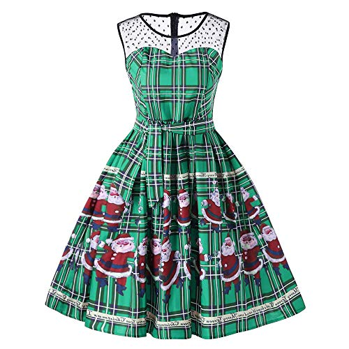 Moko-PP Women Vintage Christmas Plaid Santa Claus Sheer Lace Insert Swing Dress