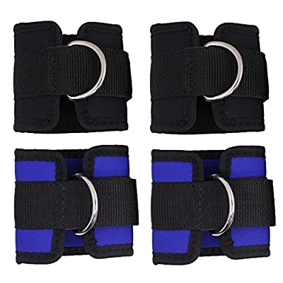 4 Pieces Fitness Ankle Straps, SENHAI Adjustable Workout Ankle Straps for Gym Cable Machine, Leg Abs Butt Glutes Exercise for Men Women - Blue, Black