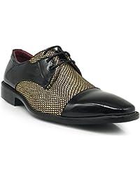 0c226d96 Leon Men's Colonial Spectator Two Tone Cap Toe Oxfords Lace up Dress Shoes