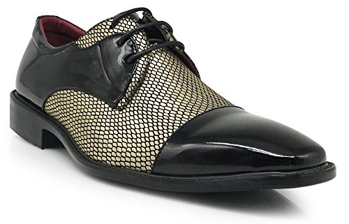 Leon Men's Colonial Spectator Two Tone Cap Toe Oxfords Lace Up Dress Shoes (8.5, Golden) -