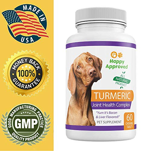 (Happy Approved Turmeric for Dogs Turmeric Extract with Glucosamine Complex and Black Pepper Extract - Eliminates Joint Pain Inflammation)