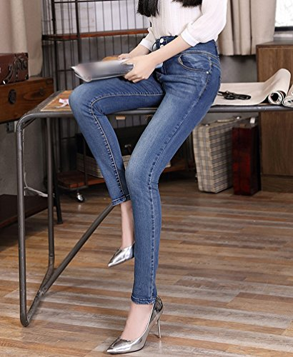 Taille Cigarettes Avant Automne Femme Skinny Taille Haute Boucle Casual YuanDian Jean Pantalons Stretch Slim Denim Crayon Up Hiver Bleu Mode Push Fit Grande dqaX505xWw