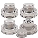 CHBKT 4 Pieces Mason Jar Shaker Lid with Silicone Seals for Regular Mouth Mason, Canning Jars, Durable, Rust Proof Stainless Steel, Shake Dry Rub - Cocktail, Mix Spices, Dredge Flour, Sugar