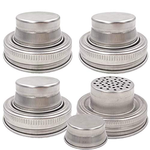(4 Pieces Mason Jar Shaker Lid with Silicone Seals for Regular Mouth Mason, Canning Jars, Durable, Rust Proof Stainless Steel, Shake Dry Rub - Cocktail, Mix Spices, Dredge Flour, Sugar)
