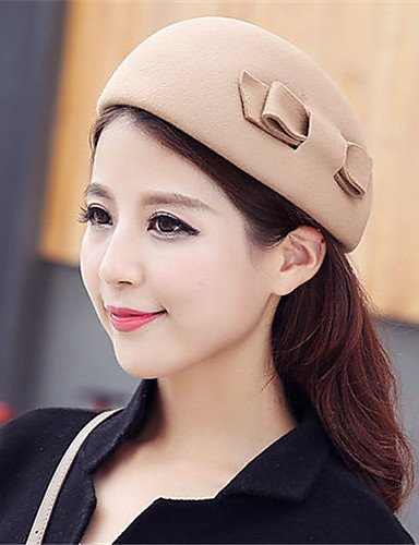 Bow Dome Woolen Autumn Hat GSM Solid Cashmere Caps Winter Topper Women ONESIZE Color qXzxICFwz