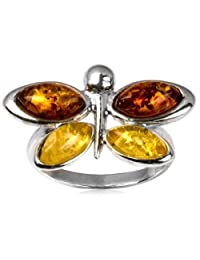 Sterling Silver Multicolor Amber Dragonfly Ring