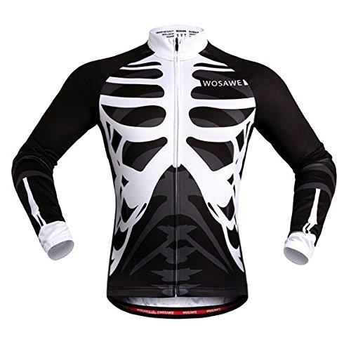 PhilMat Primavera y otoño wosawe ropa bicicleta Jersey montar el esqueleto de manga larga