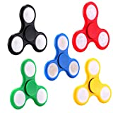 5 Pack Fidget Spinner LED Light Up Switch Control Ultra High Speed Long Spin Time Glow in the Dark EDC Finger Toy for Stress and Anxiety Relief(Black+Blue+Red+Green+Yellow)