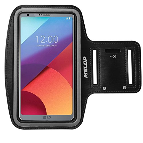 (MELOP Armband for LG V40 V50 ThinQ V30 V20 V10 K40, LG G6 Q8 G7 G8 G8s ThinQ, Stylo Stylus 2 V 3 4 Plus, Professional Soft Sweat Resistant Sports Gym Arm Band with Key Holder Card Cash Pocket - Black)