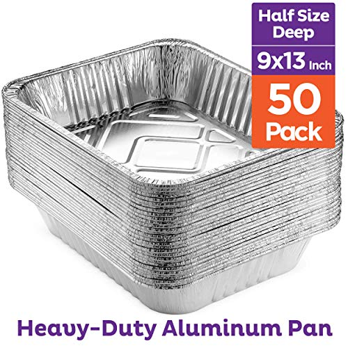 Heavy Duty 9 x 13 Aluminum Foil Pans [50 Pack] Half Size Deep Steam Table Pans, Premium Disposable Baking Pans
