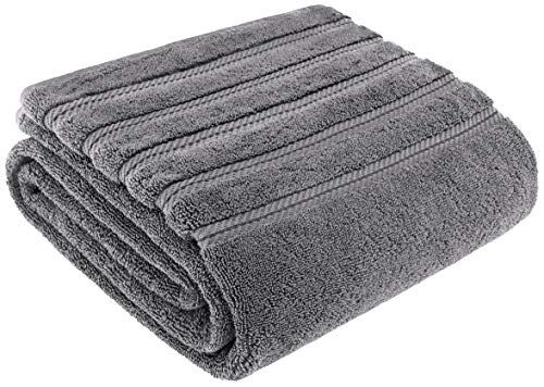 American Soft Linen Luxury Oversized Turkish Bath Sheet Towel, Extra Large 35×70 inches, Jumbo Size, Genuine Ring Spun Cotton for Absorbency and Softness, Rockridge Grey