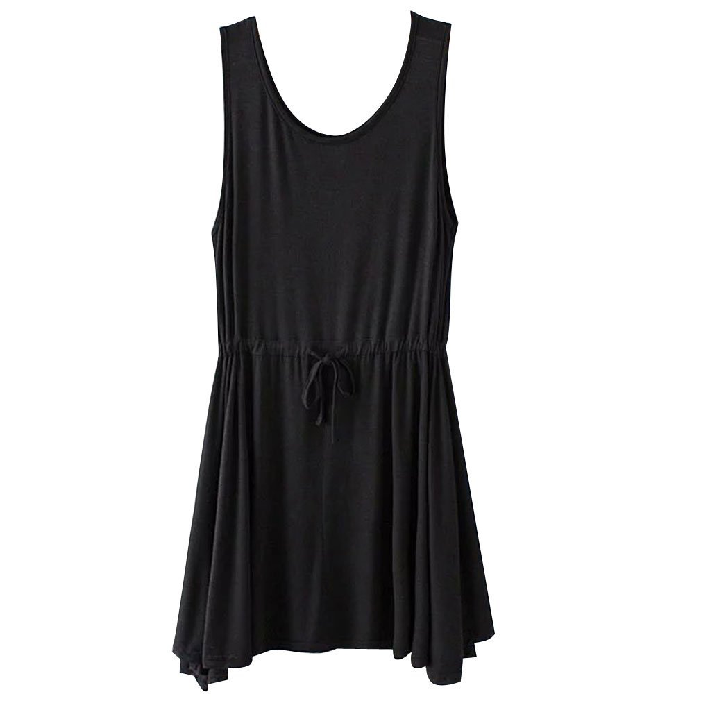 Gordon Q Womens Summer Plus Size Sleeveless Drawstring Waist Tunic Shirts