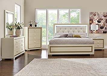 Lovely Amalfi 7 Pc. King Bedroom Furniture Set In White