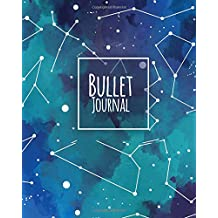 "Bullet journal 150 Pages Dotted grid paper, 8x10"" Large notebook with cover Darkness teal blue constellation patterned: Large blank planner for daily to-do list, diary, yearly, quarterly, and monthly"