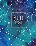 capa de Bullet Journal 150 Pages Dotted Grid Paper, 8x10 Large Notebook with Cover Darkness Teal Blue Constellation Patterned: Large Blank Planner for Daily To-Do List, Diary, Yearly, Quarterly, and Monthly