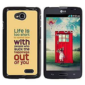 Be Good Phone Accessory // Dura Cáscara cubierta Protectora Caso Carcasa Funda de Protección para LG Optimus L70 / LS620 / D325 / MS323 // Quote Motivational Yellow Teal Pastel