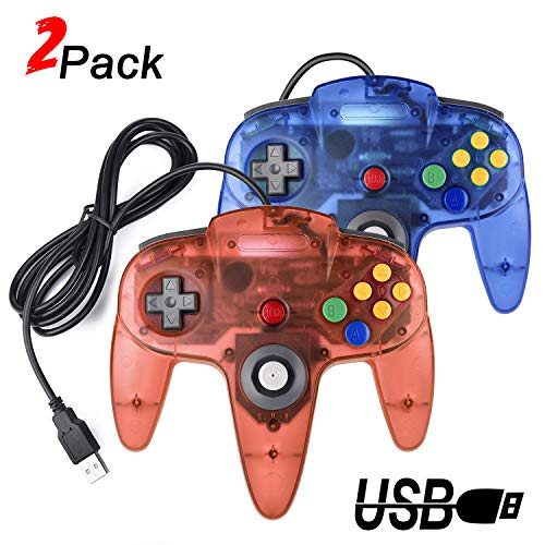 2 Packs USB Retro Controllers for N64 Gaming, miadore PC Classic N64 Game Pad Joypad for Windows PC MAC Raspberry Pi (Clear Blue& Red) - Nintendo 64 Controller Pc