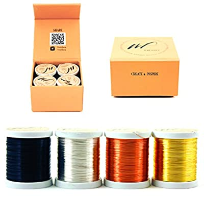 Silver-Plated Copper and Copper Craft Wire Set of 4 Spools (WF Color Set 1-3, 0.30mm - 0.60mm - 0.80mm)