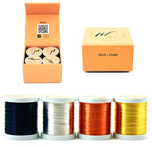 28 Gauge Tarnish Resistant Silver Plated Copper and Copper Wire Set of 4 spools. Thin Wire for Wrapping Jewelry Making Beading Colored DIY Artistic Crochet Craft Wire kit (WF Color Set 1, 0.30 mm) ()