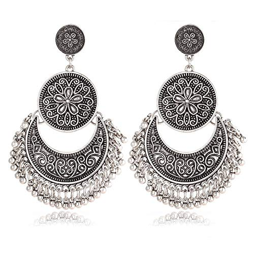 AILUOR Bohemian Ethnic Chandelier Tassel Hoop Earrings, Vintage Retro Style Fringes and Floral Tassels Brocade Lotus Mexico Gypsy Drop Dangle Earring Women Girls Jewelry (Silver)