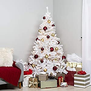 Best Choice Products 6ft Premium Hinged Artificial Christmas Pine Tree Holiday Decoration w/ 250 Warm White Lights, Solid Metal Stand, 1,000 Tips, Easy Assembly - White 6