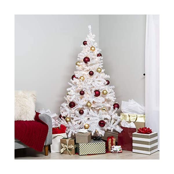 Best-Choice-Products-6ft-Premium-Hinged-Artificial-Christmas-Pine-Tree-Holiday-Decoration-w-250-Warm-White-Lights-Solid-Metal-Stand-1000-Tips-Easy-Assembly-White