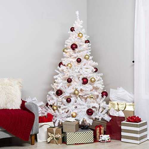 Best Choice Products 6ft Premium Hinged Artificial Christmas Pine Tree Holiday Decoration w/ 250 Warm White Lights, Solid Metal Stand, 1,000 Tips, Easy Assembly - - Decorated White Christmas Trees