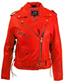 Leather Supreme Women's Red Top Grain Cowhide Motorcycle Jacket-Red-5Xl