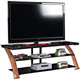 Innovex Fold N Snap Nexus 65 No Tools Assembly 3 tier tempered black glass TV stand for TVs up to 70 inches, Burl Wood