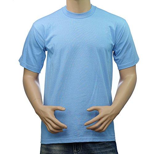 Pro Club Men's Heavyweight Cotton Short Sleeve Crew Neck T-Shirt (Sky Blue, (Blue Sky Heavyweight T-shirt)