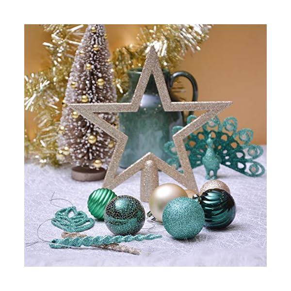 Valery Madelyn Palle di Natale 60 Pezzi di Palline di Natale, 3-5 cm di Carnevale della Foresta Pluviale Verde e Oro Infrangibile Ornamenti di Palla di Natale Decorazione per la Decorazione 6 spesavip