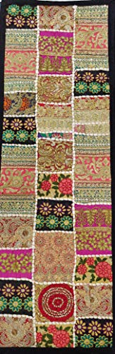 Fair Deal Rajasthani Handmade Embroidery Cotton Table Runner Patchwork Runner Vintage Wall Hanging Tapestry Tapestries Beaded Wall Decor ()