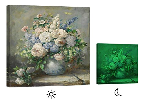 Glow in the Dark Canvas Print, Stretched and Framed Modern Wall Art, No Energy Use – Vase with Flowers (32 x 32 inch)