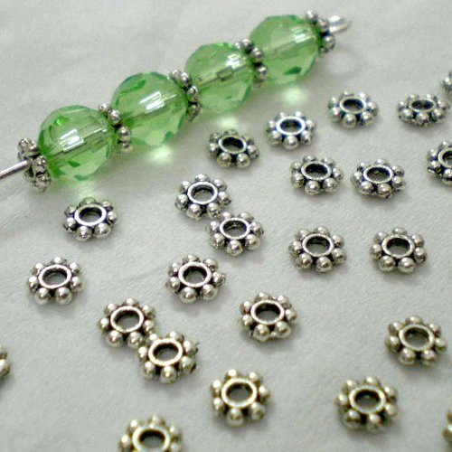 4 Mm Spacer Beads (Beading Station 1/4 Lb 1000+pcs Tibetan Silver Daisy Spacer Metal Beads 4mm~ + Free Beading Station)