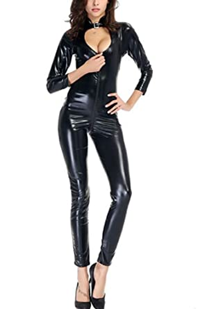 Sorrica Womens Sexy Catsuit with Front Opening Corset Faux Leather Catsuit