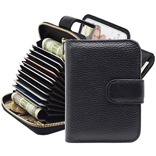 Womens RFID Blocking Credit Card Holder Genuine Leather Zipper Accordion Wallet