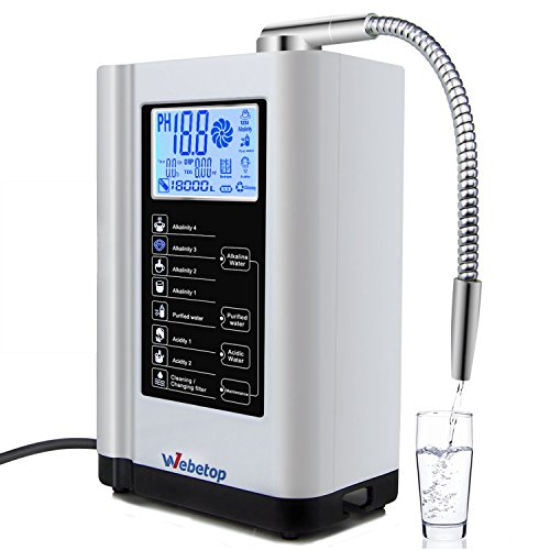Webetop Water Ionizer and Water Purifier Machine PH 3.5-10.5 Alkaline Acid Water Machine/ 7 Water Settings/ Up to -500mV ORP/ 6000 Liters Per Filter/ Auto-Cleaning-Better Water Better Life