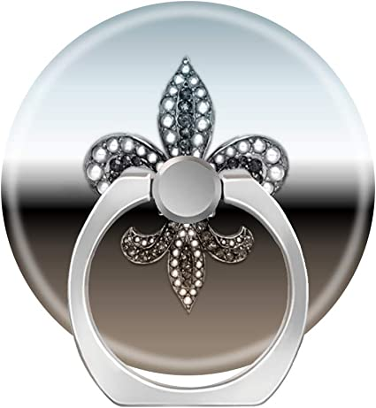 360 Degree Finger Stand Cell Phone Ring Holder Car Mount with Hook for Smartphone-Fleur de lis Flor New Orleans Stone Jewel
