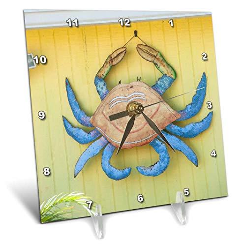 3dRose dc_209017_1 USA, Florida, New Smyrna Beach, Metal Crab Art Decoration. Desk Clock, 6 by 6