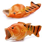 Okay Multiple Colour Creative Fish Slipper Man Handmade Fish Shoes Women Fish Slippers Unisex Beach Slippers … (Female 5.5-6=Big Kid 4-5, Golden)